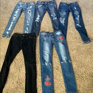 5 pair lot of distressed jeans Encore Cello 0/00